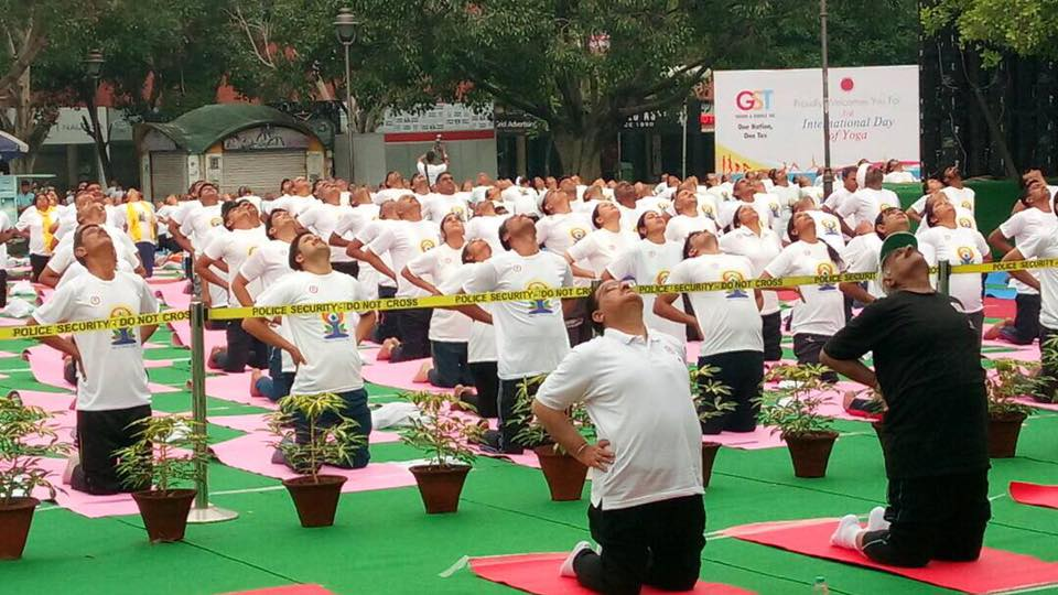 Seen in File picture os leading from front- Union Health Minister JP Nadda on International Yoga Day 2017!