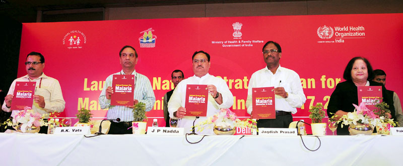 J.P. Nadda launching the National Strategic Plan for Malaria Elimination in India (2017-22), in New Delhi on July 12, 2017.