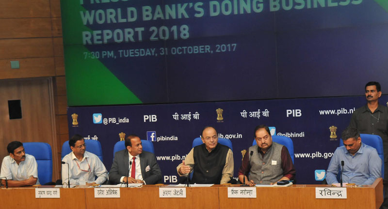 The Union Minister for Finance and Corporate Affairs, Arun Jaitley addressing a press conference on India''s ranking in the World Bank's Ease of Doing Business Report 2018, in New Delhi on October 31, 2017.The Secretary, DIPP, Ramesh Abhishek, the Principal Director General, Press Information Bureau,  A.P. Frank Noronha and other dignitaries are also seen.