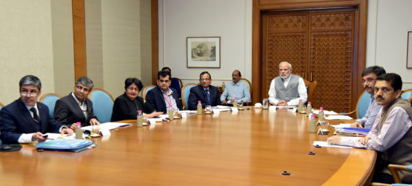 "The Prime Minister, Narendra Modi reviewing the progress of preparations towards the launch of ""Ayushman Bharat"" - the National Health Protection Scheme announced in the recent Union Budget, in New Delhi on March 05, 2018."