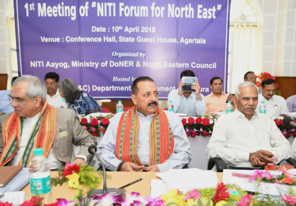 The Minister of State for Development of North Eastern Region (I/C), Jitendra Singh along with the Vice Chairman, NITI Aayog, Rajiv Kumar at the first meeting of newly constituted NITI Forum for North East, in Agartala on April 10, 2018.