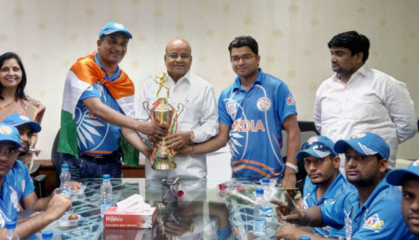 Indian Wheelchair Cricket team won the first of its kind and which not only inculcated a positive attitude among Persons with Disabilities but also provided a platform to show case their talent and physical abilities. Seen in the picture is the victorious team calling on Union Minister for Social Justice and Empowerment Thaawarchand  Gehlot in his office