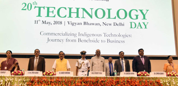 The President, Ram Nath Kovind at the 20th National Technology Day celebrations, in New Delhi on May 11, 2018. The Union Minister for Science & Technology Harsh Vardhan, the Secretary, Department of Science and Technology, Ashutosh Sharma, the DG, CSIR, Dr. Girish Sahni and other dignitaries are also seen.