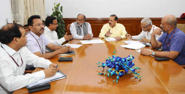 The Minister of State for Development of North Eastern Region Jitendra Singh holding a meeting with the Minister of State for Tourism Alphons Kannanthanam, in New Delhi on May 11, 2018.