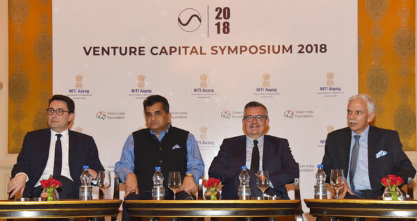 Niti Aayog's Venture Capital Symposium 2018 is all set to deepen the economic relationships between France and India, following the visit of French President Emmanuel Macron. Seen in the picture is the CEO, NITI Aayog, Amitabh Kant, the Ambassador of France to India, Alexandre Ziegler and other dignitaries at the Venture Capital Symposium with French investors, organised by the NITI Aayog, in New Delhi on May 18, 2018.