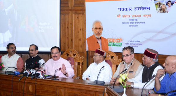 According to recent report: Nearly one thousand fewer women now die of pregnancy related complications each month in India. Seen in File picture Union Minister for Health & Family Welfare, J.P. Nadda addressing a press conference, in Shimla on May 29, 2018. Union Minister for Social Justice and Empowerment,  Thaawar Chand Gehlot and other dignitaries are also seen.