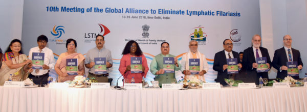 J.P. Nadda releasing the Accelerated Plan for Elimination of Lymphatic Filariasis (LF) 2018 for India, at the 10th meeting of Global Alliance to Eliminate Lymphatic Filariasis (GAELF), in New Delhi on June 13, 2018. 	The Minister of State for Health & Family Welfare, Shri Ashwini Kumar Choubey and other dignitaries are also seen.